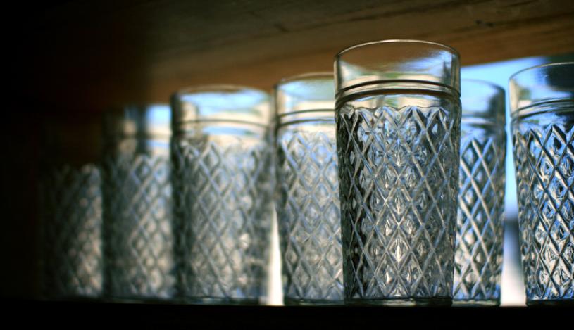 Restaurant glassware prepared for restaurant line check